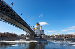 Cathedral of Christ the Saviour and Patriarshy Bridge in Moscow Stock Photo