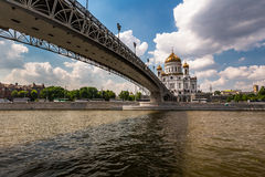 Cathedral of Christ the Saviour and Pedestrian Patriarshy Bridge Stock Images