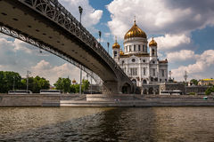 Cathedral of Christ the Saviour and Pedestrian Patriarshy Bridge Royalty Free Stock Photography