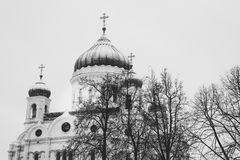 The Cathedral of Christ the Saviour in winter Royalty Free Stock Photo