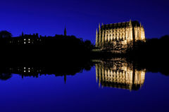 Cathedral / church. Cathedral at night reflecting in still water Stock Photos