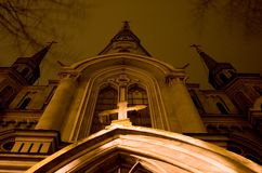 Cathedral church. Old church at night stock photo
