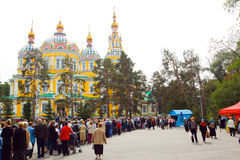 Cathedral church in Almaty Stock Photo