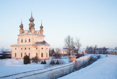 Cathedral Church of the Archangel Michael in Yuryev-Polsky early. Cathedral Church of the Archangel Michael in Yuryev-Polsky in the early morning in winter Royalty Free Stock Photos