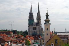Cathedral and church in capital of Croatia. Zagreb royalty free stock photography