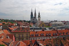 Cathedral and church in capital of Croatia. Zagreb royalty free stock photos