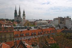 Cathedral and church in capital of Croatia. Zagreb royalty free stock images