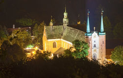 Cathedral church in Gdansk Oliwa, Poland. Top view at night at the old cathedral church in Gdansk Oliwa in Poland Royalty Free Stock Images