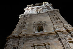 Cathedral Church of Murcia at night stock images