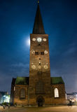 Cathedral church at night. Cathedral at night Aarhus, Denmark. Moonlight through light clouds Stock Photography