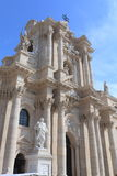 Cathedral Church in Ortigia. A beautiful view of the architecture of the main cathedral church in the Ortigia center of Siracusa city in Italy Stock Image