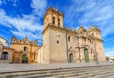 Cathedral church in Plaza de Armas Cuzco, Peru. Cathedral church in  Plaza de Armas Cuzco landmark, Peru Stock Photos