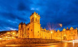 Cathedral church Plaza de Armas Cuzco Peru Royalty Free Stock Photos