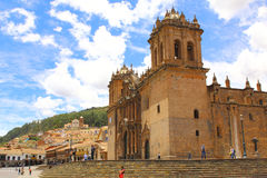 Cathedral church at the Plaza de Armas. Cuzco, Peru. Royalty Free Stock Photos