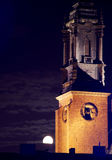 Cathedral Church in Poznan at night with moon Royalty Free Stock Photography