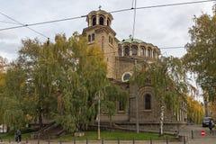 Cathedral Church St. Nedelya in Sofia, Bulgaria. SOFIA, BULGARIA -NOVEMBER 12, 2017: Cathedral Church St. Nedelya in Sofia, Bulgaria Stock Image