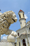 Cathedral of Cienfuegos with lion head (Cuba) royalty free stock photos