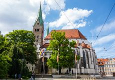 Cathedral of the city Augsburg at blue sky Bavaria Germany stock photo
