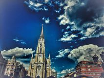 Cathedral in the city royalty free stock photos
