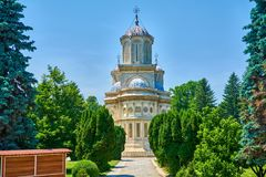 Cathedral in city of Curtea de Arges is a monastery and convent of historical importance outside view stock photos