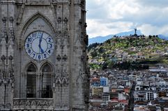 Gothiic style in Quito, Ecuador. Cathedral of the city and hill in the background in Quito, Ecuador stock image