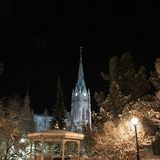Cathedral and city park in Lulea in the frosty winter coats Stock Image