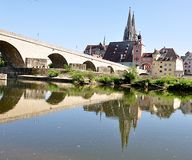 The Cathedral and the city of Regensburg, Germany, Europe Royalty Free Stock Photography