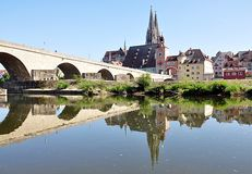 The Cathedral and the city of Regensburg, Germany, Europe Royalty Free Stock Photos