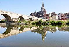 The Cathedral and the city Regenzburg, Germany, Europe Royalty Free Stock Photography