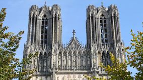 Cathedral in the city of Reims. Close-up of Our Lady of Reims (in french Notre-Dame de Reims), a Roman Catholic cathedral in Reims, France. It was built in the stock video
