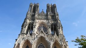 Cathedral in the city of Reims. Our Lady of Reims (in french Notre-Dame de Reims) is a Roman Catholic cathedral in Reims, France, built in the High Gothic style stock footage