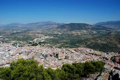 Cathedral and city rooftops, Jaen, Spain. Stock Images