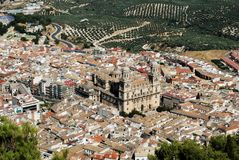 Cathedral and city rooftops, Jaen, Spain. Stock Photos
