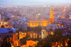 Cathedral and cityspace from castle in night. Malaga Royalty Free Stock Images
