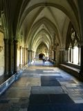 Cathedral cloister arcade, Westminster abbey. Inner view of arcade in cloister of famous medieval church in London, Westminster abbey Royalty Free Stock Photography