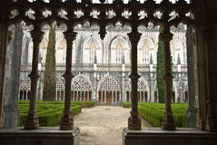Cathedral cloister in Batalha. Cloister of the Monastery in Batalha in Portugal Stock Photography