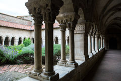 Cathedral cloisters in Elne Royalty Free Stock Photo