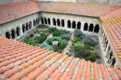 Cathedral cloisters in Elne Royalty Free Stock Image