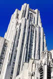 Cathedral of Learning Close. Cathedral of Learning Towers Against a Deep Blue Sky In Oakland a sub-city of Pittsburgh Pennsylvania royalty free stock photos