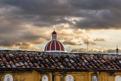 Cathedral with cloudy sky in Granada, Nicaragua Royalty Free Stock Images