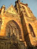 Cathedral of Colmar. Facade during sunset Royalty Free Stock Images