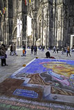 Cathedral of Cologne and a chalk drawing in front Stock Image