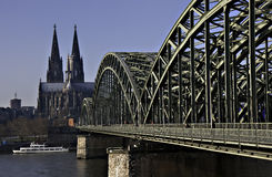 Cathedral of Cologne with Hohenzollern bridge Royalty Free Stock Photos