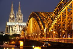 Cathedral of Cologne and iron bridge Royalty Free Stock Photography