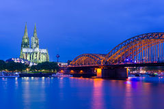 Cathedral in Cologne at night Royalty Free Stock Photography