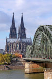 Cathedral of Cologne and the Rhine River Stock Images