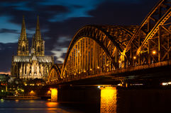 Cathedral of Cologne at twilight Stock Photography