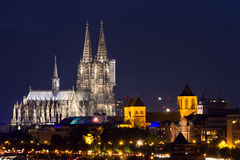 Cathedral of Cologne at twilight Stock Image