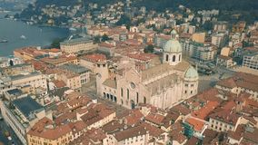 Cathedral of Como. Aerial view stock video