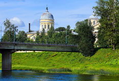 Cathedral complex in the small russian city of Torzhok Royalty Free Stock Photography